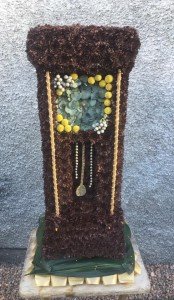 Floral tribute grandfather clock
