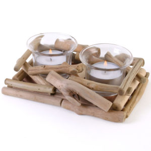 driftwood 2x tealight holder