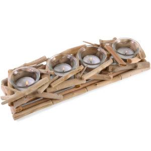 driftwood 4x tealight holder