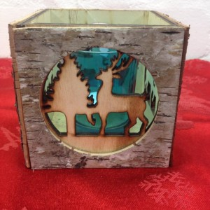 Reindeer bark tea light holder