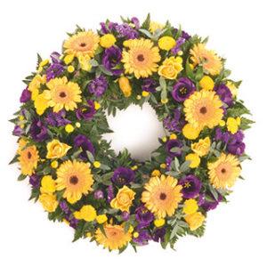 yellow and purple wreath