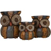 colourful wooden owls