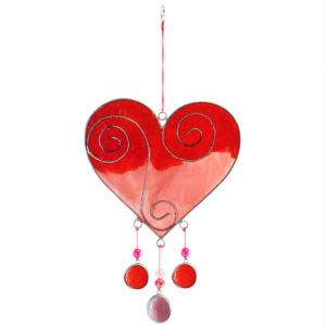 Red pink heart suncatcher