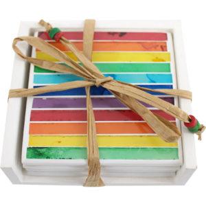 Set of 4 Mosaic rainbow coasters