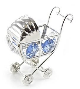 Silver Plated Crystal Pram Ornament with Swarovski Crystals blue