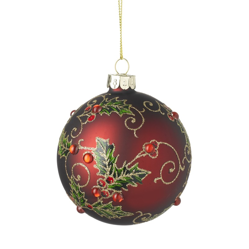 RED GLASS BAUBLE WITH HOLLY