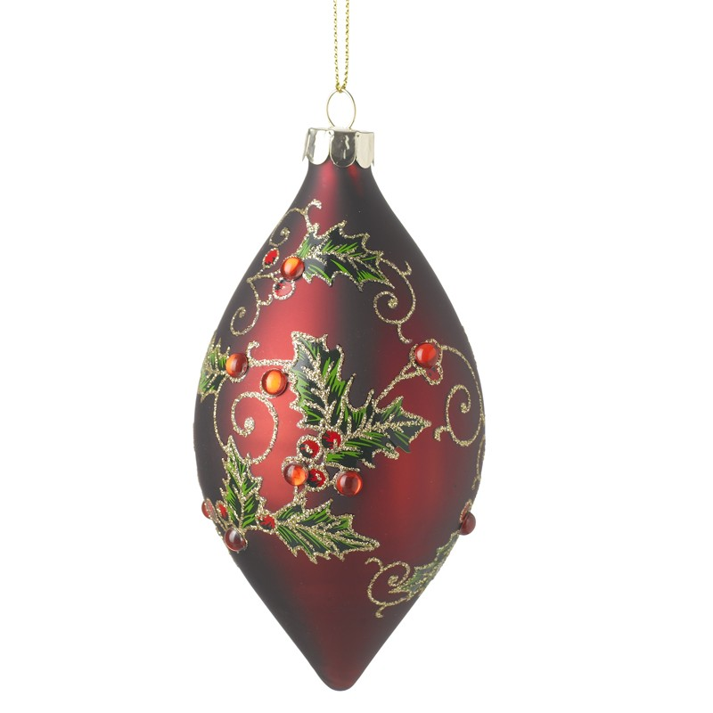 Oblong Red Glass Bauble W/Holly