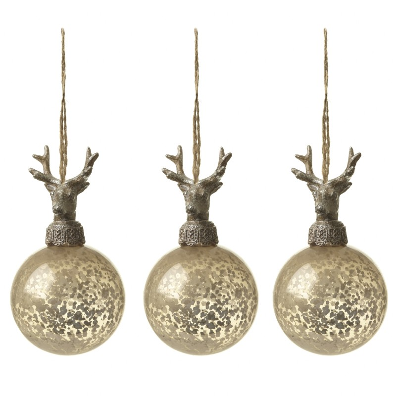 SET OF 3 GLASS BAUBLES WITH DEER TOP