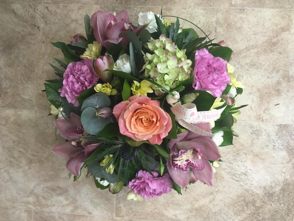 pastel posy arrangement