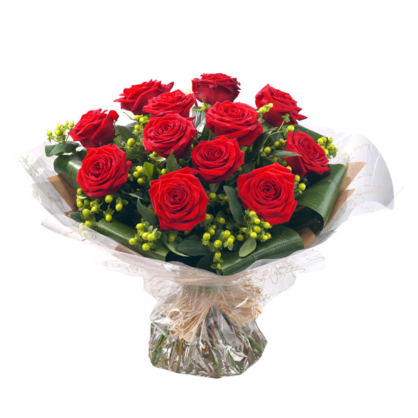 12 Red Rose Hand Tied