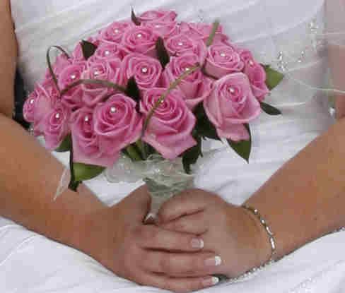 Pink rose bridal hand tie flowers