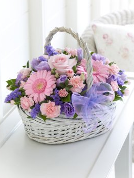 Pastel Basket Flower arrangement by Brodies Blooms and Gifts