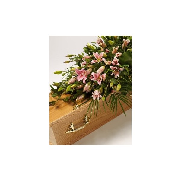 pink lily casket spray..