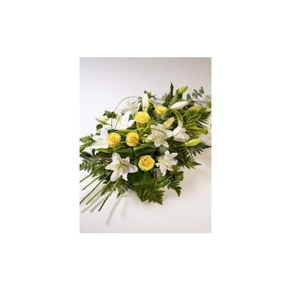 white lily and yellow rose spray