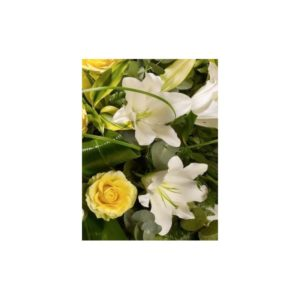 yellow roseand white lily spray