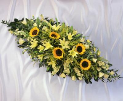 sunflower coffin spray