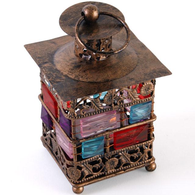 bejewelled lantern, small, bronze