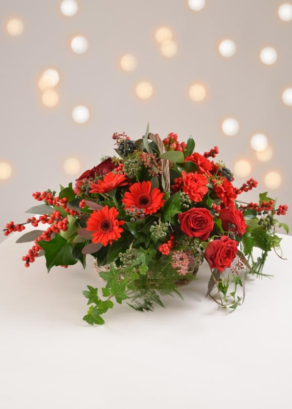 festive sparkle basket arrangement