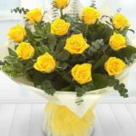 12 yellow rose hand tie