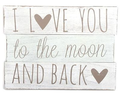 large wooden i love you to the moon and back plaque