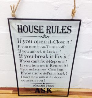 House rule sign