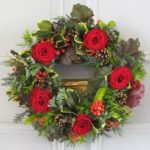 christmas fresh red rose door wreath