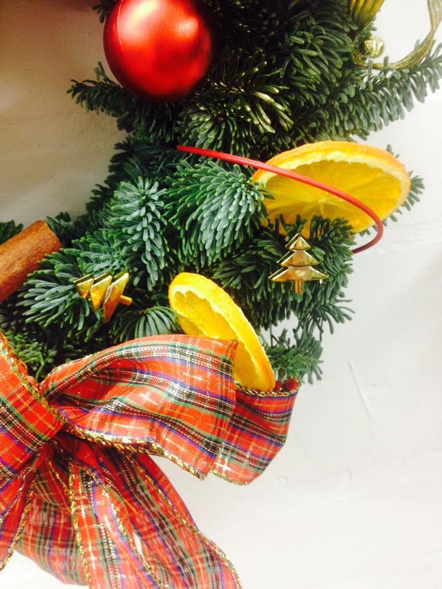 close up tartan spruce wreath