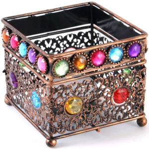 square bejewelled tea light holder