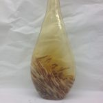 mustard/yellow glass abstract glass vase