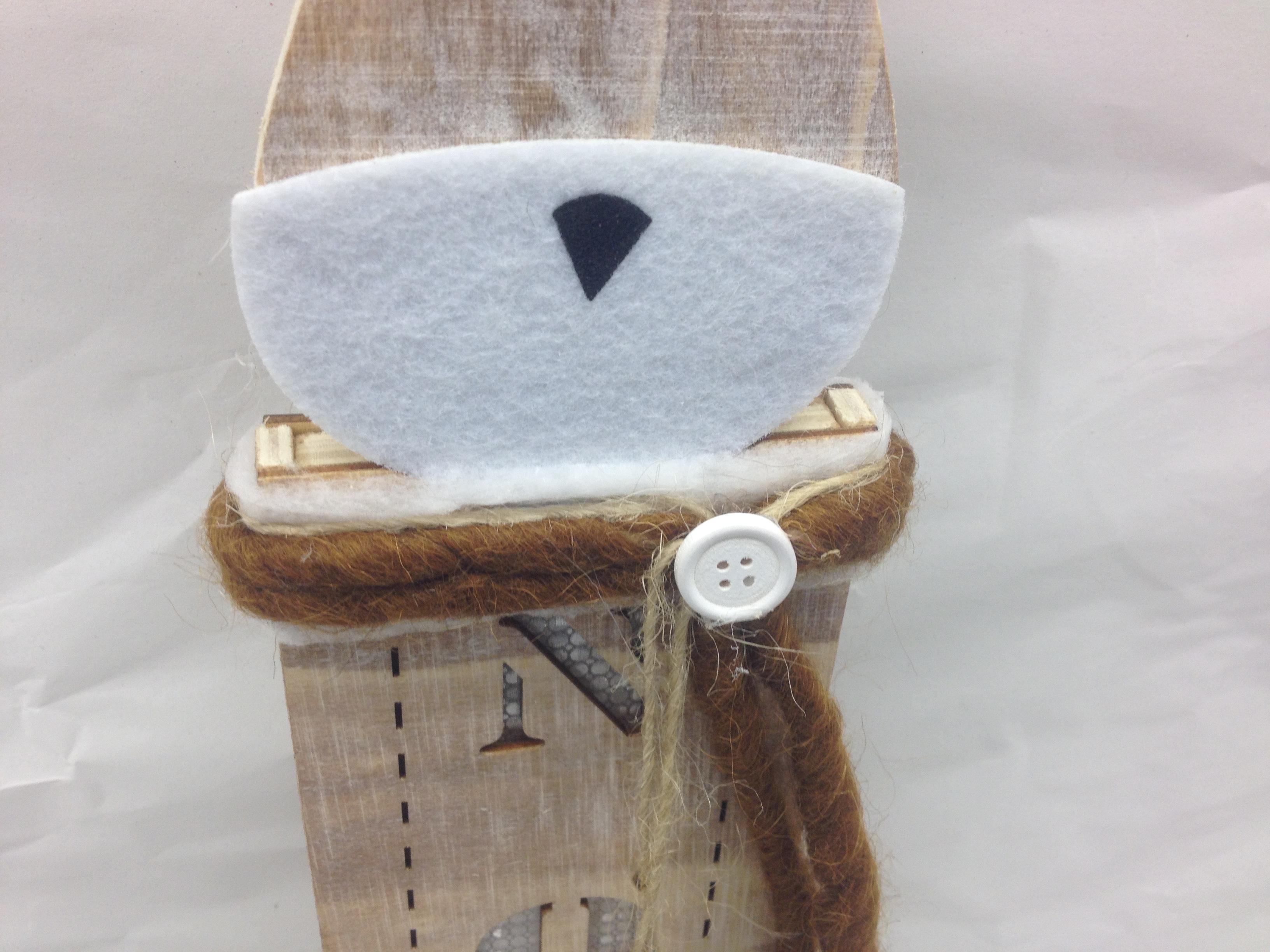 Wooden Reindder with Noel 48cm