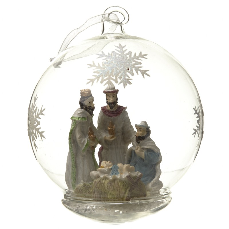 Hanging Nativity Bauble W/Snowflakes
