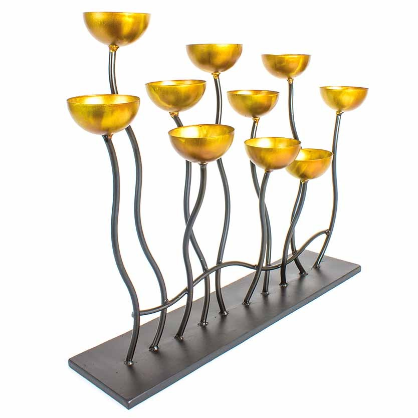 Gold Candle Holder With Metal Base