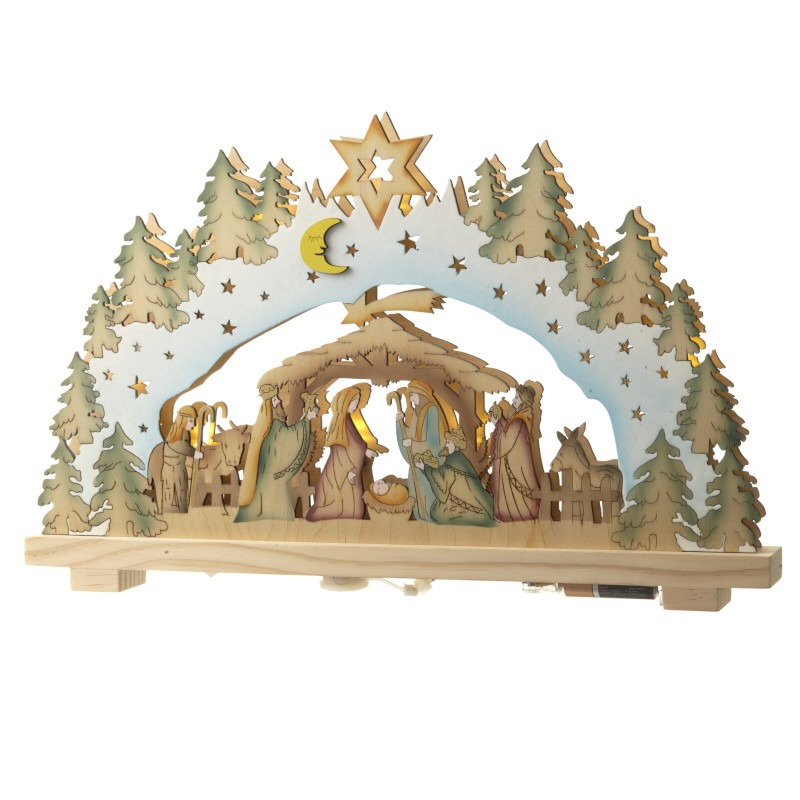 wooden nativity with led lights