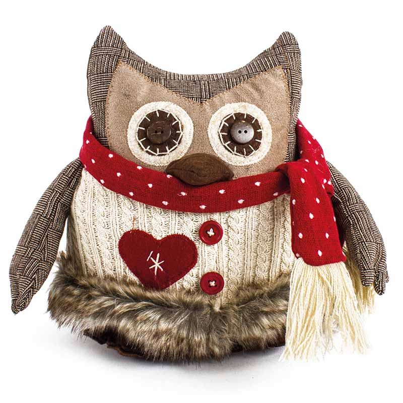 Fabric Owl With Red Scarf