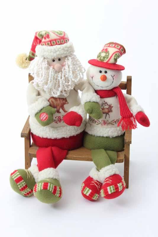 Santa And Snowman On Bench Singing