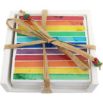 Set of 4 Mosaic rainbow coasters