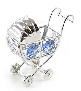 Silver Plated Crystal Pram Ornament with Swarovski Crystals blue