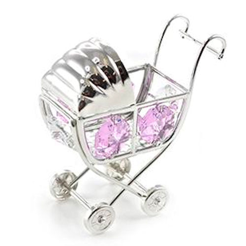 Silver Plated Crystal Pram Ornament with Swarovski Crystals pink