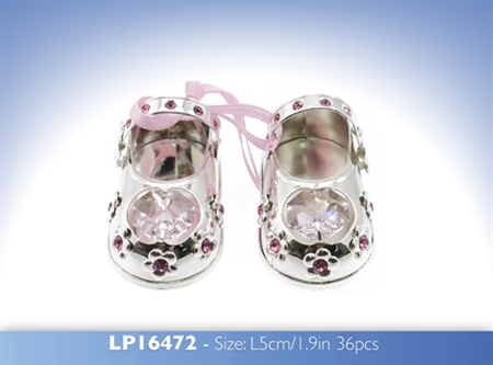 Silver and Crystal Baby Shoes - Pink