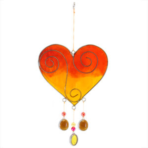 Yellow orange heart suncatcher
