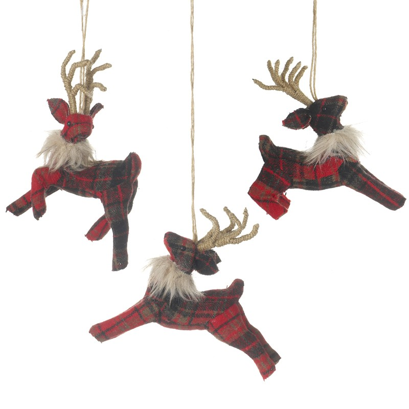 RED TARTAN HANGING REINDEER MIX