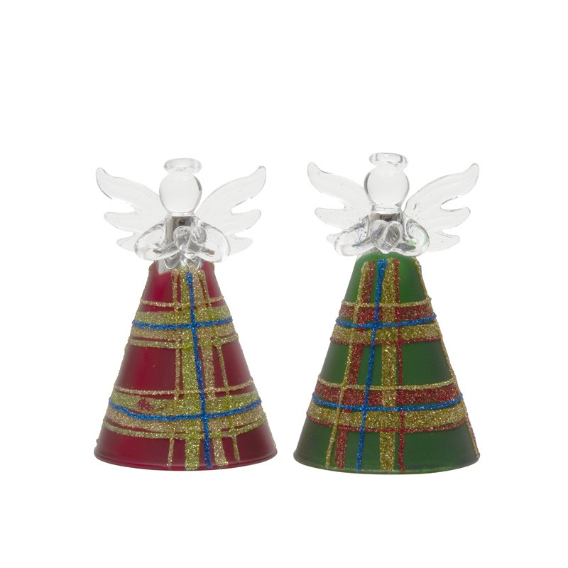 GLASS RED AND GREEN TARTAN ANGEL